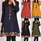 Winter Autumn Women Long Sleeve Tunic Kaftan Floral Loose Casual Mini Dress