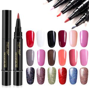 3 In1 Gel nail varnish pen glitters one step gel polish 18 colors uv gel la^dm