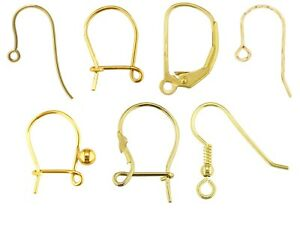 9ct Gold Earring Fittings ALL TYPES - Hook Wire Safety  Plain Fancy Earring Wire