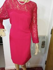 HOBBS FITTED DRESS SIZE UK 18 US 14 RED 62% COTTON 22% VISCOSE