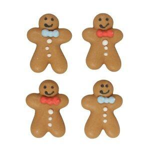 Gingerbread Men Sugar Pipings x 10 Edible Cake Decorations