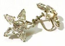 boucles d'oreilles vis vintage fleur cristaux diamant couleur argent * 3912