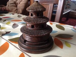 OLD PAGODA STYLE TEA LIGHT HOLDER FROM ASIA  IN GOOD CLEAN CONDITION