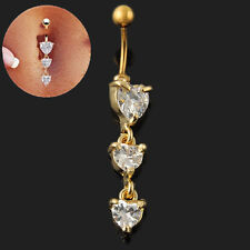 Navel Ring Belly Piercing Clear Rhinestone Bar 3 Hearts Star Body Jewelry Gold