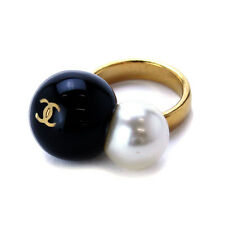 Auth CHANEL Ring Gold Bijou Fake Pearl 03C 90024032