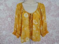 Forever 21 Boho Blouse Size Small Peasant Top Sheer Floral Yellow Womens