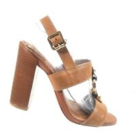Tory Burch Women's Shoes Brown Leather Slingback High Heels Sandals Size 8.5 M