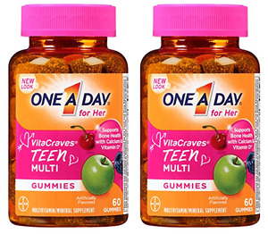 One A Day Vitacraves Teen for Her, 60 Count (2 Pack)