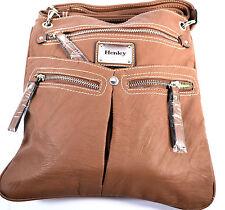 Henley señoras de Hombro Bandolera Bolso Imitación Cuero Tostado 5 compartimentos con cremallera seguro
