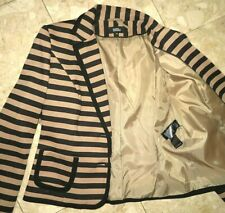 Gorgeous M&S Beige/Black Striped Jersey Jacket sz 12