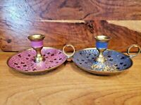 2 Beautiful Enameled Solid Brass Chamber Candle Holders
