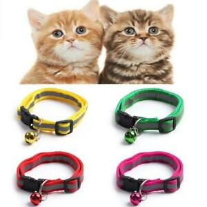 Adjustable Reflective Breakaway Nylon Cat Safety Collars with Bell Tags Sal A8Q1