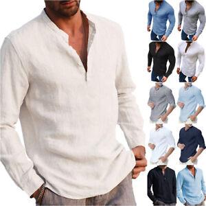Mens Henley Shirt Plain Long Sleeve T-Shirt Casual Pullover Tee Shirt Formal Top
