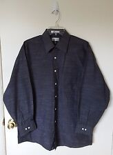 Men's Gray Button Down Wrinkle Free Shirt, Size 16-16 1/2, 32/33 L, Van Heusen.