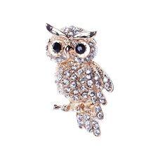 Vivid Owl Golded Bird Lover Bling Rhinestone Black Eye Breastpin Brooch Bouquet