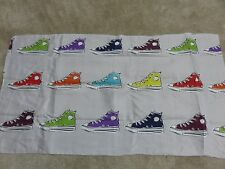 Retro sneakers silver grey red blue craft remnant material fabric piece 70x45cm