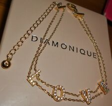 **BEAUTIFUL** LOVE BRACELET GOLD OVER STERLING SILVER DIAMONIQUE QVC NEW IN BOX