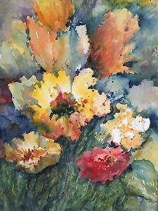 Original B. Moller Signed FANTASTIC Floral Professionally Framed w/Museum Glass
