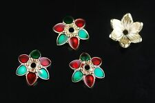 20Pcs 13mm Enamel Flowers Bead Caps Spacer Jewelery DIY Craft Making Findings