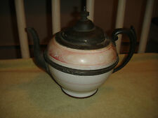 Antique Ceramic & Pewter Teapot-Russian Teapot?-Unusual Look-Pewter Band