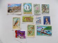 11 Old Franked Stamps Guinea, Hungary, Canada, Vietnam, Uganda, Mongolia, Yemen