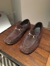 fc75049a3 Men's Gucci Horse-Bit Loafers 1957 Size 8 D Formal Brown Suede Silver Slip-