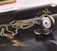 Bronze Steampunk Vintage Tone Pendant Pocket Quartz Watch Chain Necklace Gift