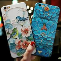 Relief Embossed Luxury Flower Bird Phone Case for iPhone 12 11 X XR XS Max 7 8