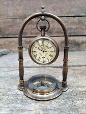 5.5 Inches Brass Hanging Clock Desk Decorative clock With Compass table top