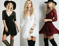 Slim Fit V-neck 3/4 Sleeve Cinched Waist Women's Cocktail Prom Party Lace Dress
