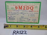 VINTAGE QSL CARD AMATEUR RADIO  HISTORY 1970 TANAH FEDERATION OF MALAYSIA 9M2DQ