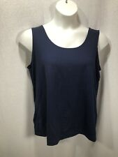 Plus Size Women Chicos Navy Blue Size 3 Tank Top Stretch Wide Straps Relaxed Fit