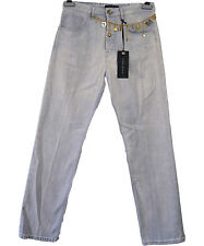 €199 Women's GUESS MARCIANO Baggy Gold Chain Straight Denim Wash Jeans sz 27 I57