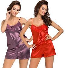 sexy Damen Pyjama kurz Satin + Spitze Schlafanzug Shorty Nachtwäsc Wäschebeutel