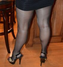 2 Pr Lot Hanes Silk Reflections STW Barely Black & Quicksilver Pantyhose AB Z88
