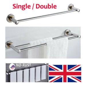 Bathroom Wall Mounted Towel Rail Stainless Steel Double Single Towel Bar Chrome