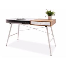 LUXIA - Bureau scandinave / Bureau avec tiroir - Blanc / Effet chêne
