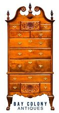 19TH C ANTIQUE WALNUT PHILADELPHIA CHIPPENDALE HIGHBOY DRESSER / CHEST ~ AFFLECK