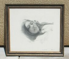 SHIRL GOEDIKE Listed Girl and the Rose Signed Mixed Media Drawing 1971