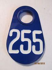 Blue Plastic Cow Identification Ear Tag # 255.