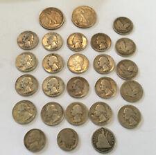 26 x American Usa Silver Coins 1876-1957 Quarter, Nickel, Half Dollar, 169g