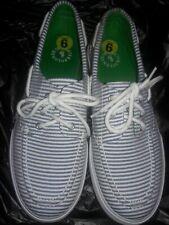 POLO LILIA By Ralph Lauren Seersucker Canvas Deck Shoes, Size 9 Navy/White☆ EUC☆