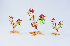 Set of 3 Roosters / Chickens of Blown Glass Crystal