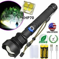 Super Bright XH P70 350000LM Zoomable Flashlight Rechargeable XHP70 LED Torch US