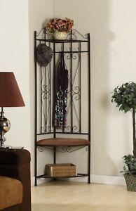 Black Metal Corner Hall Tree Cushion Bench Coat Rack Entryway Storage Hook Stand