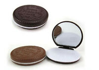 1x Mini Pocket Chocolate Cookie Compact Mirror + Comb Make Up Mirrors  PP