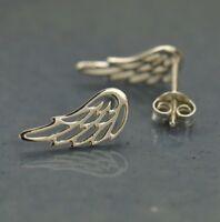 Sterling Silver .925 Small Angel Bird Wing Wings Studs Stud Post Earrings