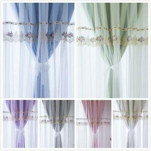 Blackout Curtains Double-Layer Yarn Tulle Princess Window Drape Eyelets Ring