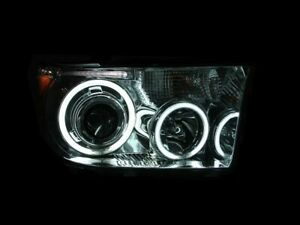Anzo Projector Headlights Chrome Halo For 07-15 Tundra / Sequoia #111173