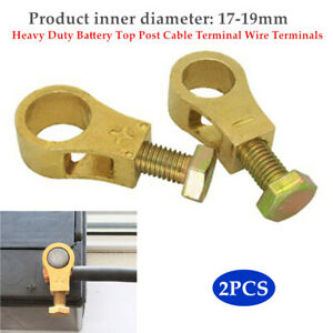 2PCS Car Truck Pure Brass Heavy Duty Battery Post Cable Terminal Wire Terminals